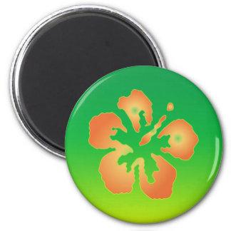 Hibisco abstracto en verde y amarillo imán redondo 5 cm