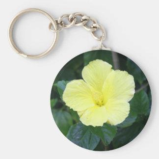 Hibisco amarillo claro llavero personalizado