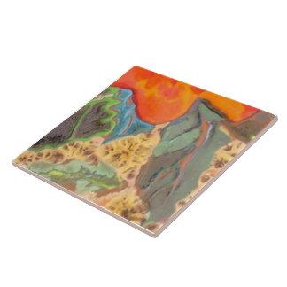 Hibisco anaranjado 11 de 12 azulejo cuadrado grande