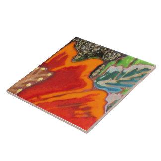 Hibisco anaranjado 3 de 12 azulejo cuadrado grande