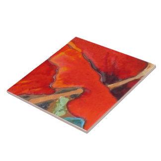 Hibisco anaranjado 6 de 12 azulejo cuadrado grande