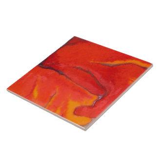 Hibisco anaranjado 7 de 12 azulejo cuadrado grande