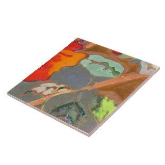Hibisco anaranjado 8 de 12 azulejo cuadrado grande