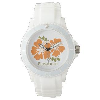 Hibisco anaranjado personalizado relojes