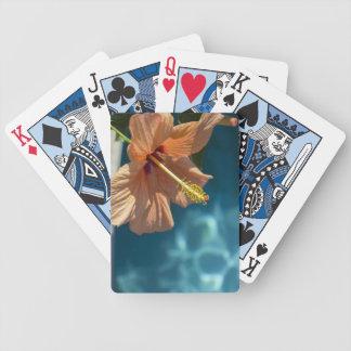 Hibisco anaranjado sobre el agua azul baraja cartas de poker
