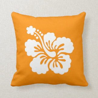 Hibisco anaranjado y blanco almohada
