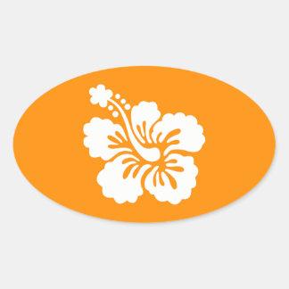 Hibisco anaranjado y blanco pegatina ovalada