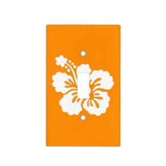 Hibisco anaranjado y blanco placas para interruptor