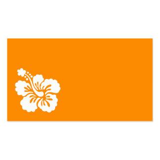 Hibisco anaranjado y blanco tarjetas de visita