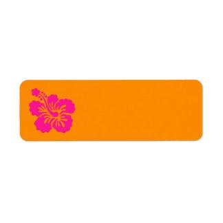 Hibisco anaranjado y de color rosa oscuro etiquetas de remite