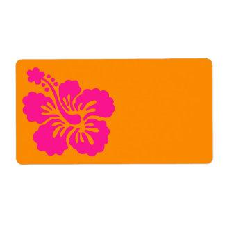 Hibisco anaranjado y de color rosa oscuro etiqueta de envío