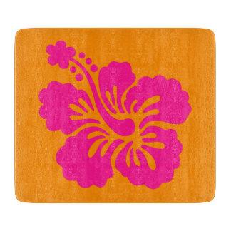 Hibisco anaranjado y de color rosa oscuro tabla para cortar