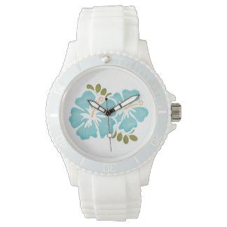 Hibisco azul reloj de mano