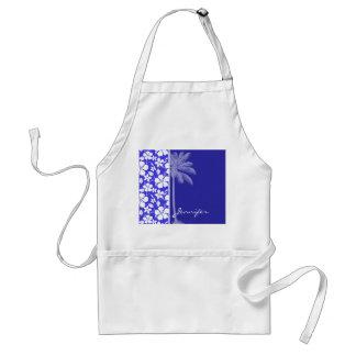Hibisco azul tropical; Palma Delantal