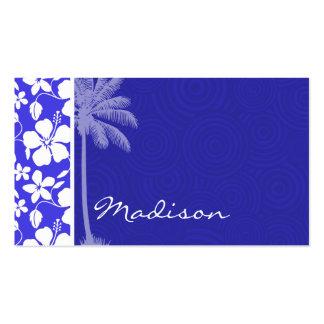 Hibisco azul tropical; Palma Tarjetas Personales