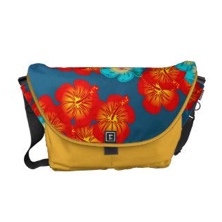 Hibisco azul y rojo bolsa messenger