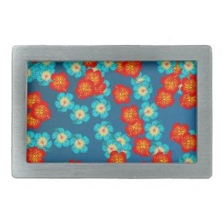 Hibisco azul y rojo hebilla cinturon rectangular