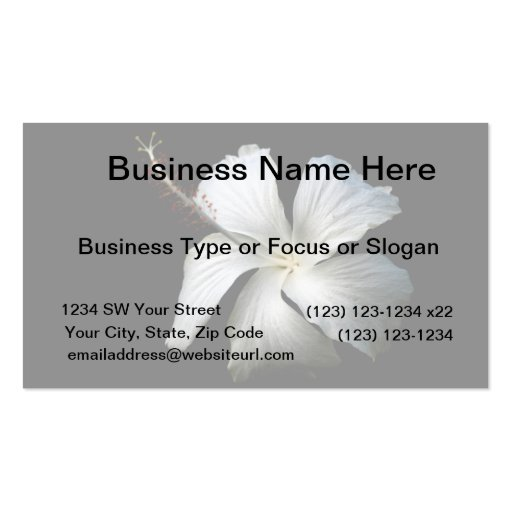 Hibisco blanco contra black.jpg tarjetas de visita