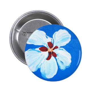 Hibisco blanco en la pintura azul