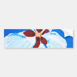 Hibisco blanco en la pintura azul pegatina para auto
