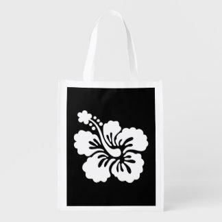 Hibisco blanco y negro moderno bolsas para la compra