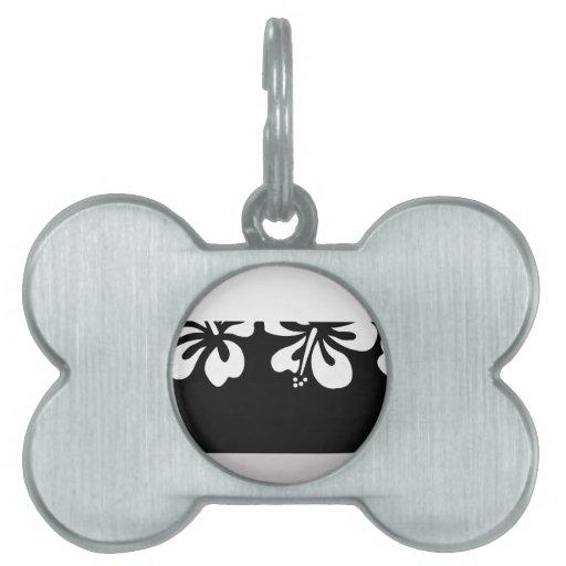 Hibisco blanco y regalos negros de Hawaii del fond Placas De Mascota