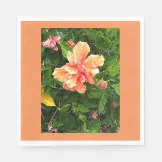 Hibisco coloreado melocotón con la frontera servilleta de papel