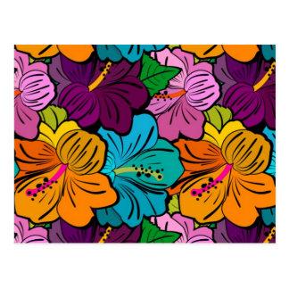 Hibisco coloreado multi encantador caprichoso de l postal