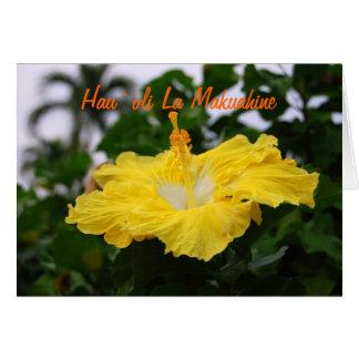 Hibisco de color amarillo oscuro hawaiano feliz tarjeta de felicitación