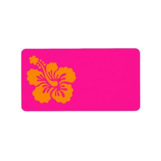 Hibisco de color rosa oscuro y anaranjado etiqueta de dirección