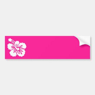 Hibisco de color rosa oscuro y blanco pegatina de parachoque