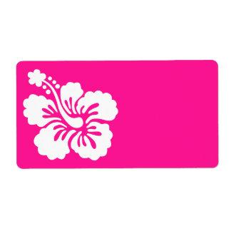 Hibisco de color rosa oscuro y blanco etiqueta de envío