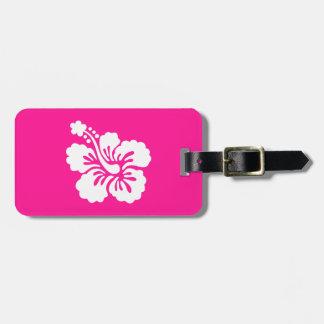 Hibisco de color rosa oscuro y blanco etiquetas para equipaje