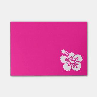 Hibisco de color rosa oscuro y blanco post-it® notas