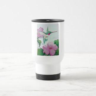 Hibisco de la flor del rosa salvaje del pájaro del taza de viaje
