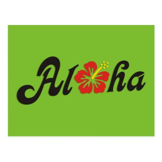 Hibisco de la hawaiana - diseño plano de Hawaii + Tarjetas Postales
