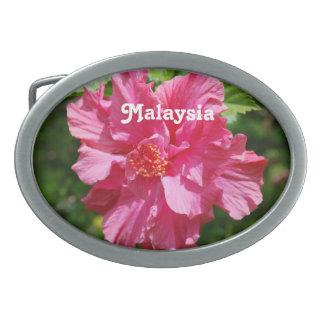 Hibisco de Malasia Hebillas De Cinturon Ovales