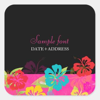 Hibisco de PixDezines color de fondo diy Pegatina Cuadradas Personalizada