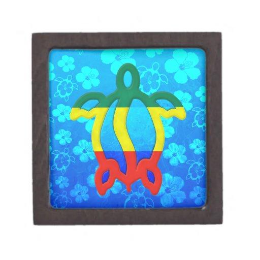 Hibisco del azul de Rasta Honu Cajas De Recuerdo De Calidad