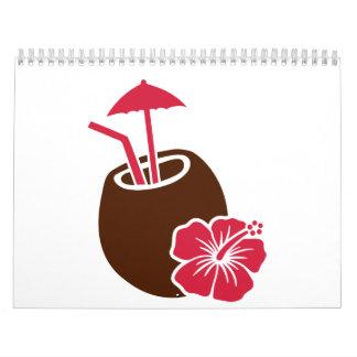 Hibisco del cóctel del coco calendario de pared