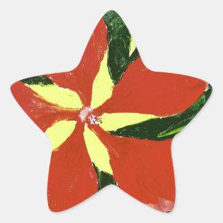 Hibisco del escarlata pegatinas forma de estrellaes personalizadas