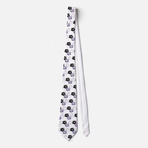 hibisco del gris del mahalo de la hawaiana corbatas personalizadas