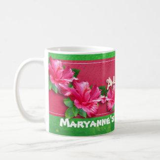 Hibisco del rosa de la taza de Luau del cumpleaños