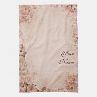 Hibisco del vintage con su nombre toalla de mano