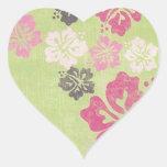 Hibisco del vintage pegatina en forma de corazón