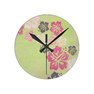Hibisco del vintage reloj redondo mediano