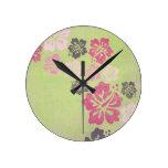 Hibisco del vintage relojes de pared