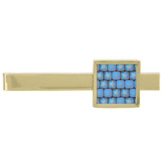 Hibisco en gel azul alfiler de corbata dorado