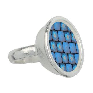 Hibisco en gel azul anillos