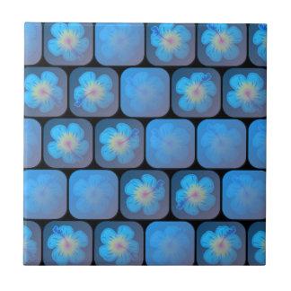 Hibisco en gel azul azulejo cuadrado pequeño